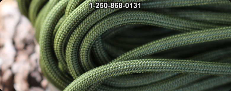 Paracord Commercial 550 OD Green 50 ft - Bushcraft Canada