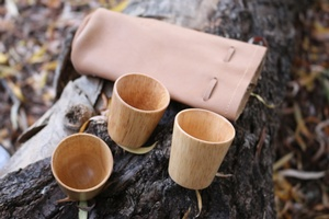 Reindeer Leather bag and 3 shot cups