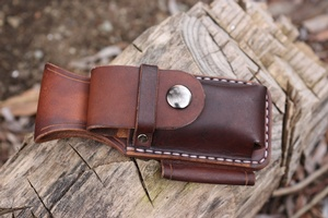 Canadian Bushcraft Leather DC4 and Firesteel Pouch