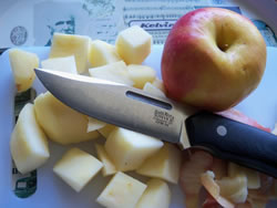 Peeling and cubing apples